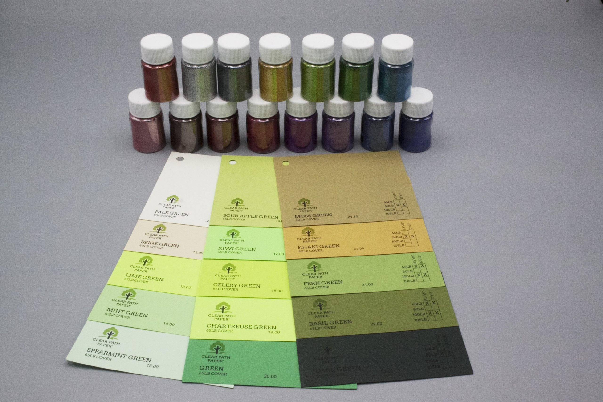 Image of LETS RESIN Glitter Powder with Green Cardstock