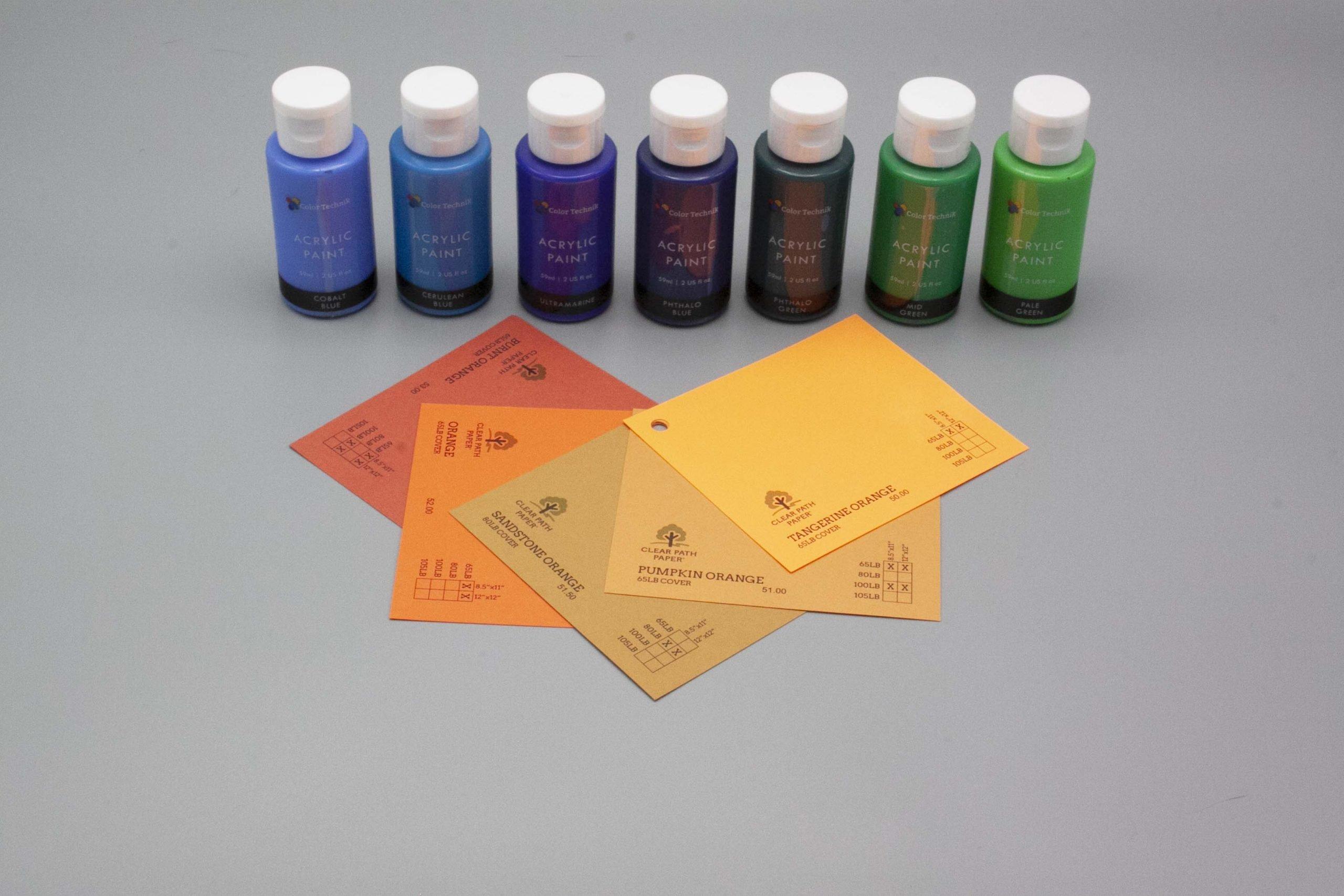 Image of Acrylic Paint on Orange Cardstock