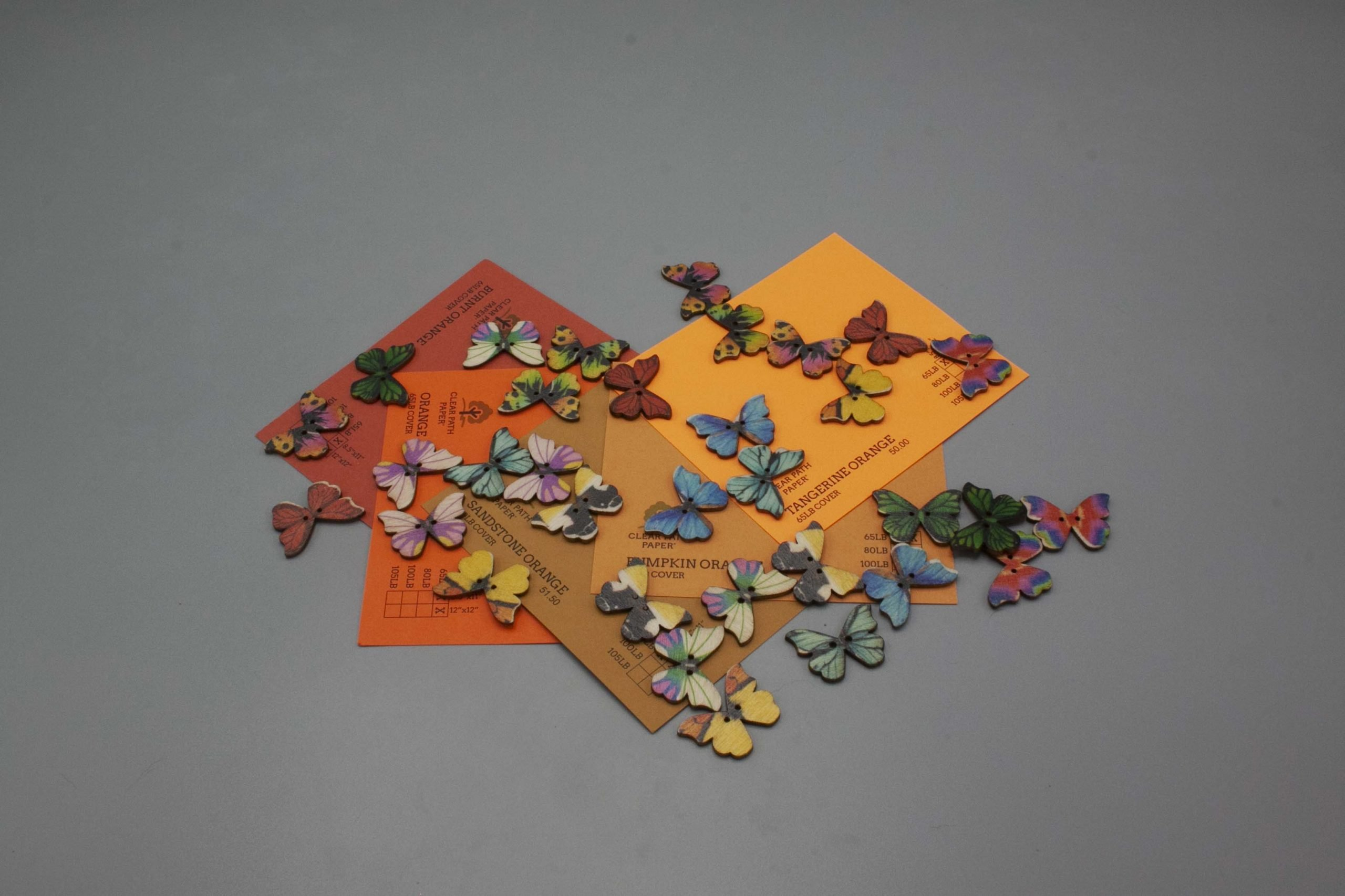 Image of Easy 99 Butterfly Buttons with Orange Cardstock