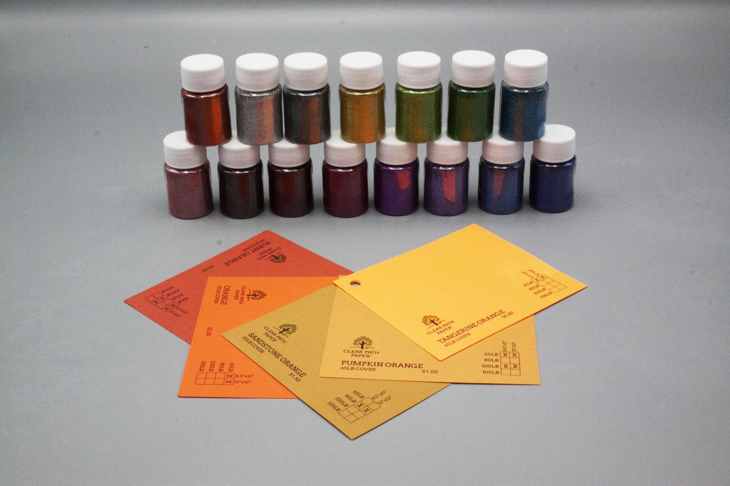 Image of Lets Resin Glitter Powder with Orange Cardstock