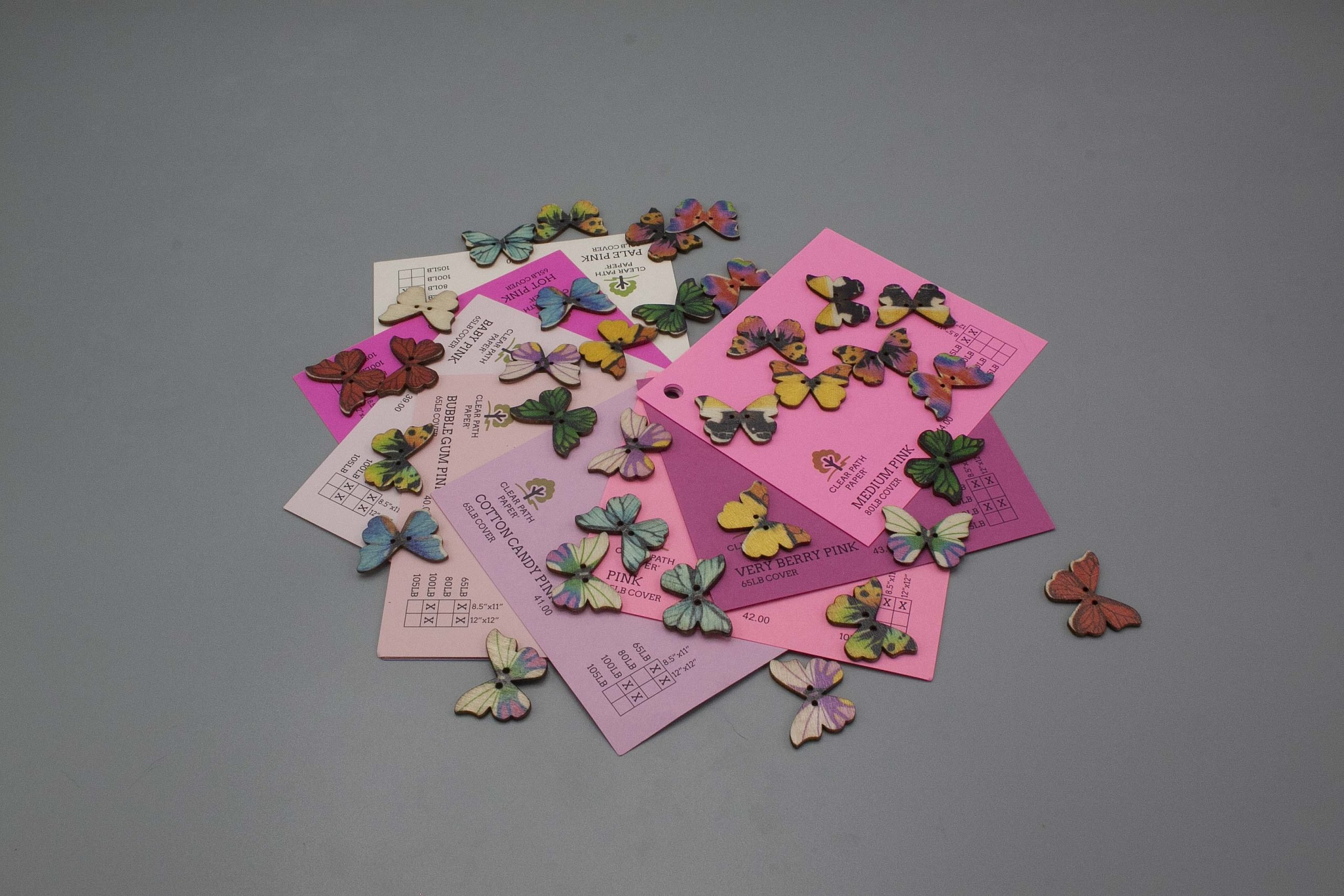 Image of Easy 99 Butterfly Buttons with Pink Cardstock