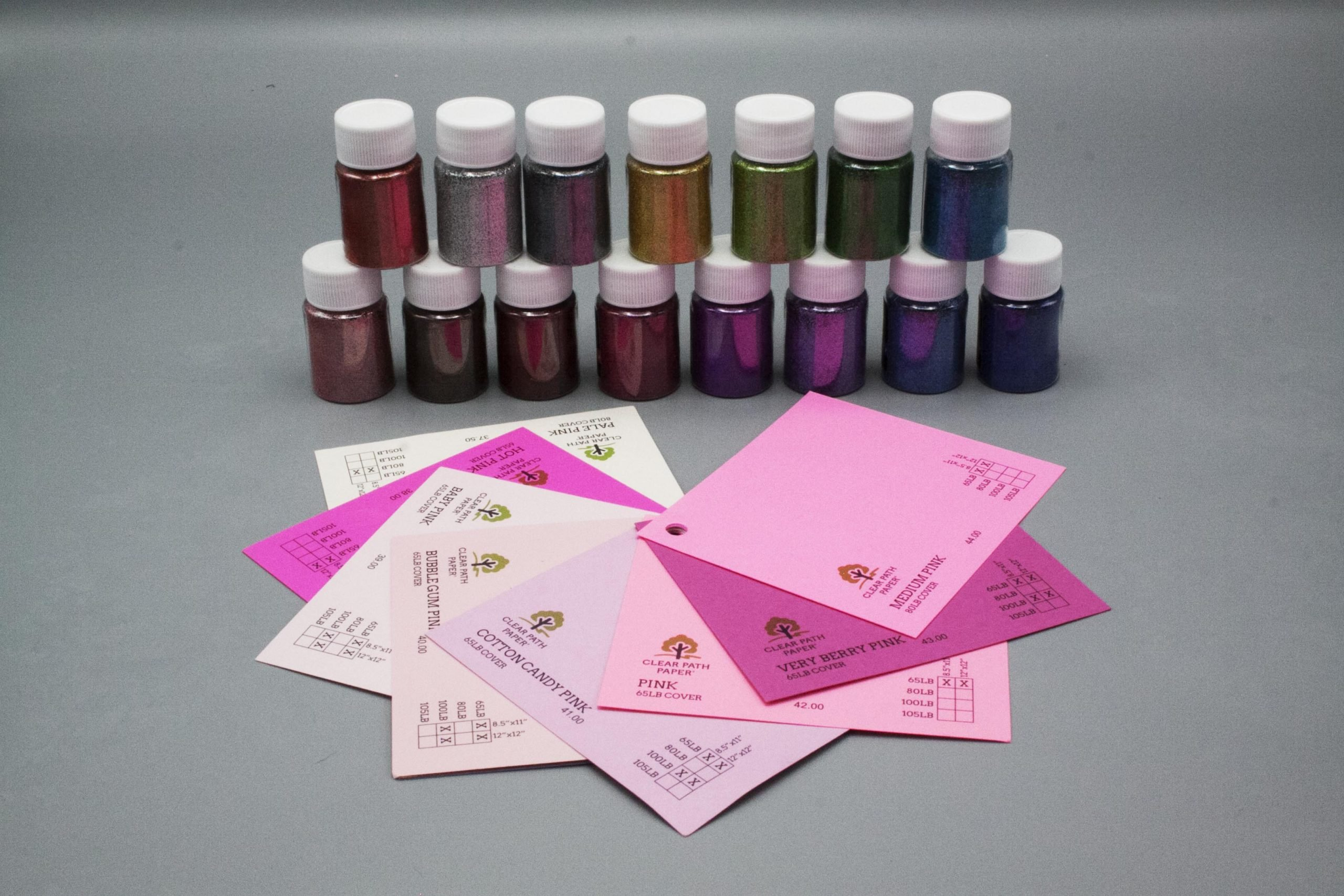 Image of LETS RESIN Glitter Powder with Pink Cardstock