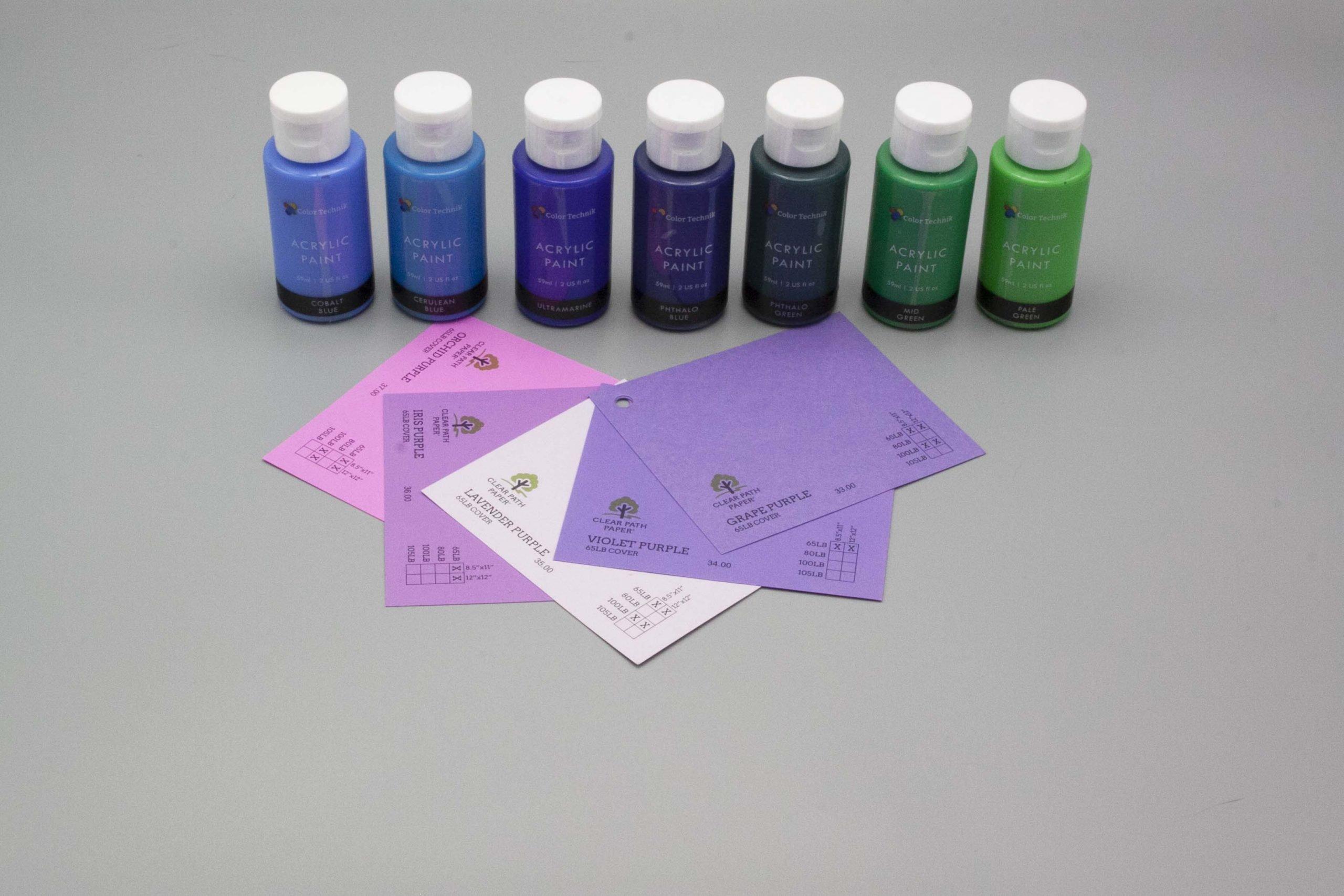 Image of Acrylic Paint on Purple Cardstock