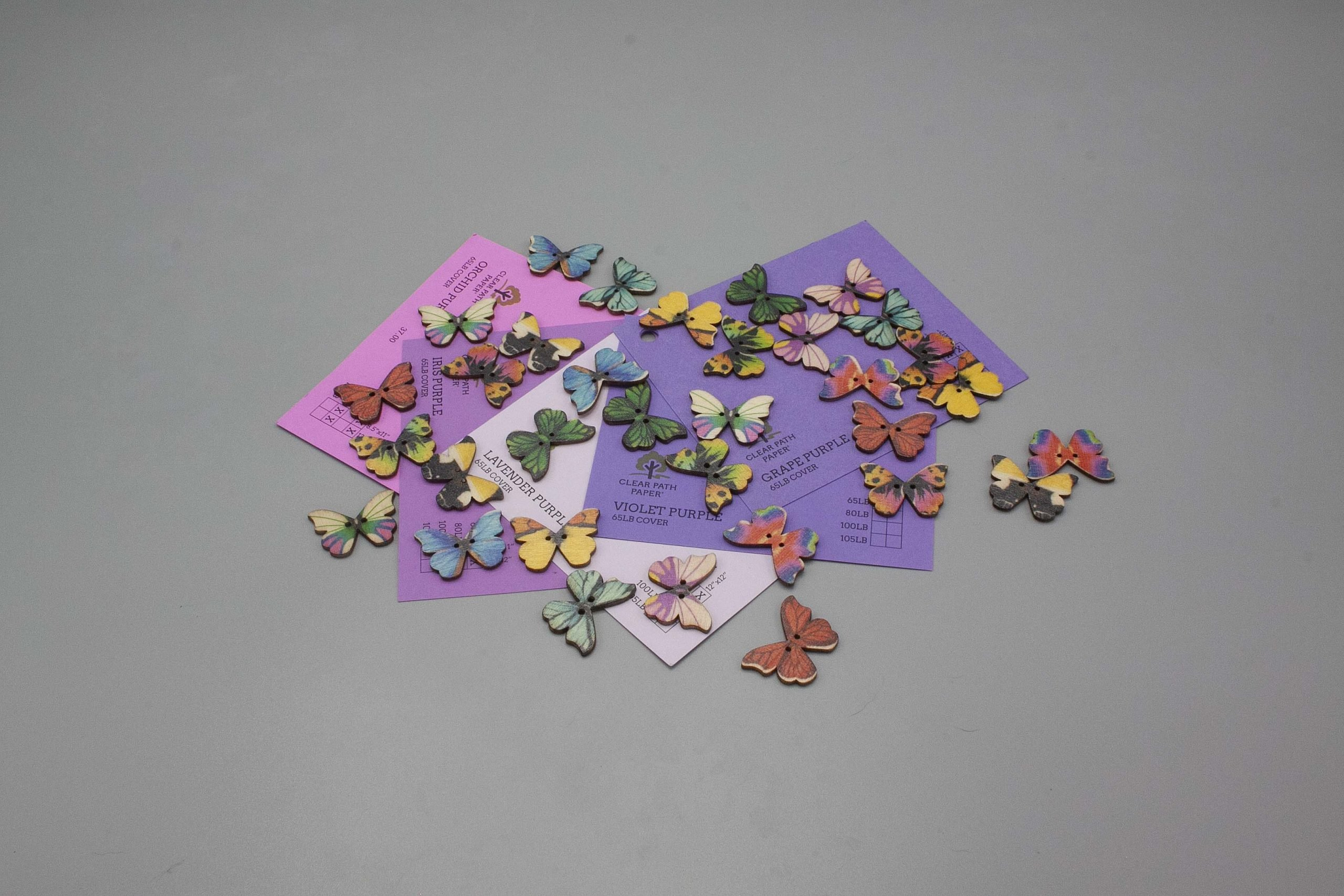 Image of Easy 99 Butterfly Buttons with Purple Cardstock