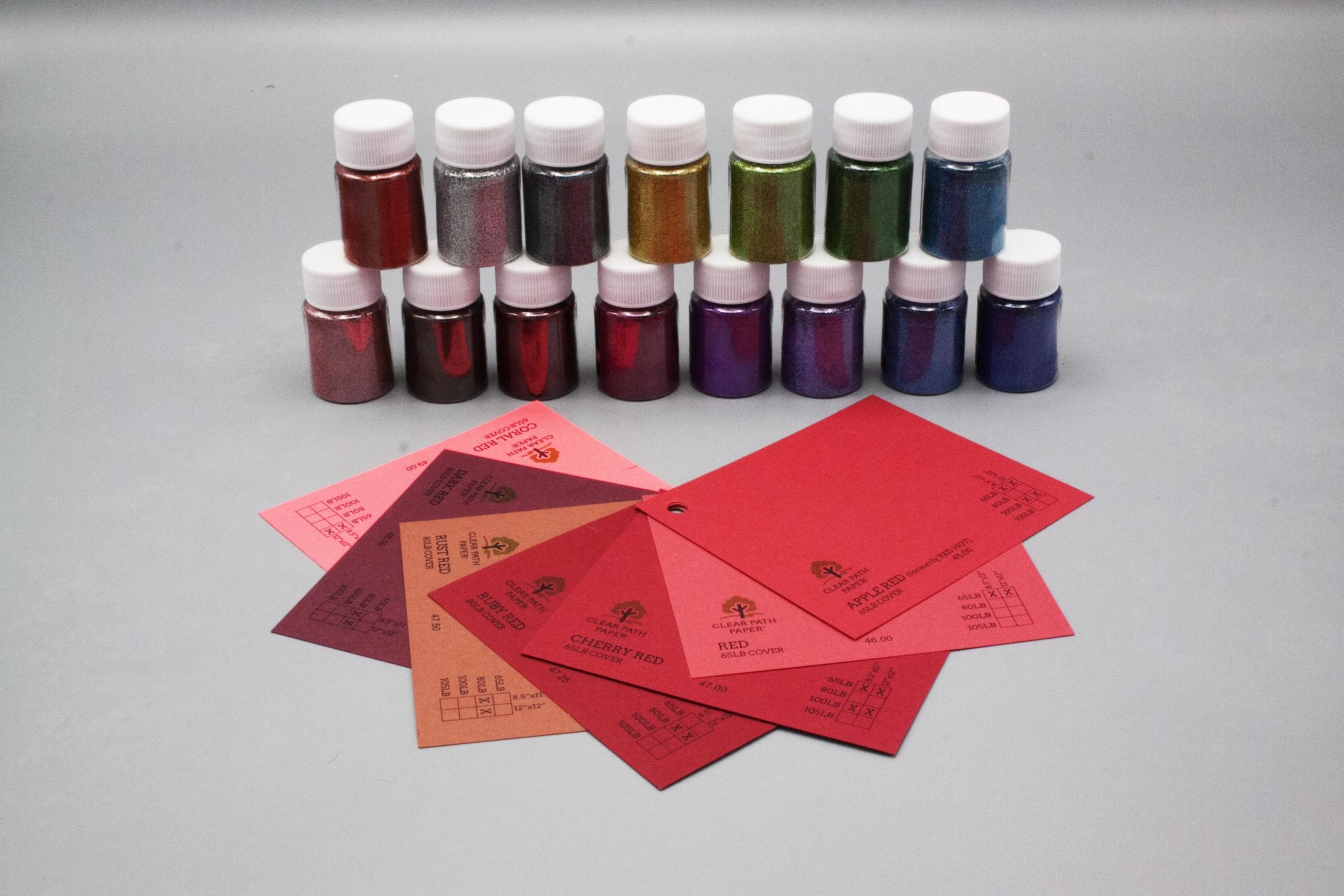Image of Lets Resin Glitter Powder with Red Cardstock