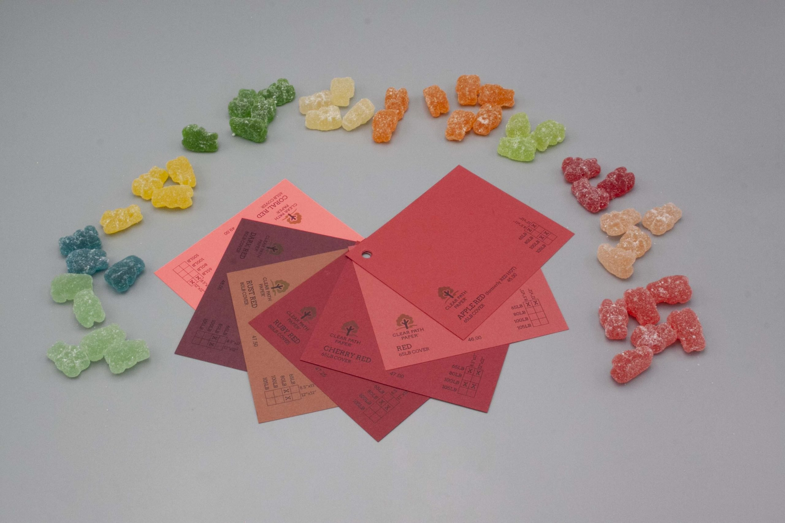 Image of Albanese Gummi Candies on Red Cardstock