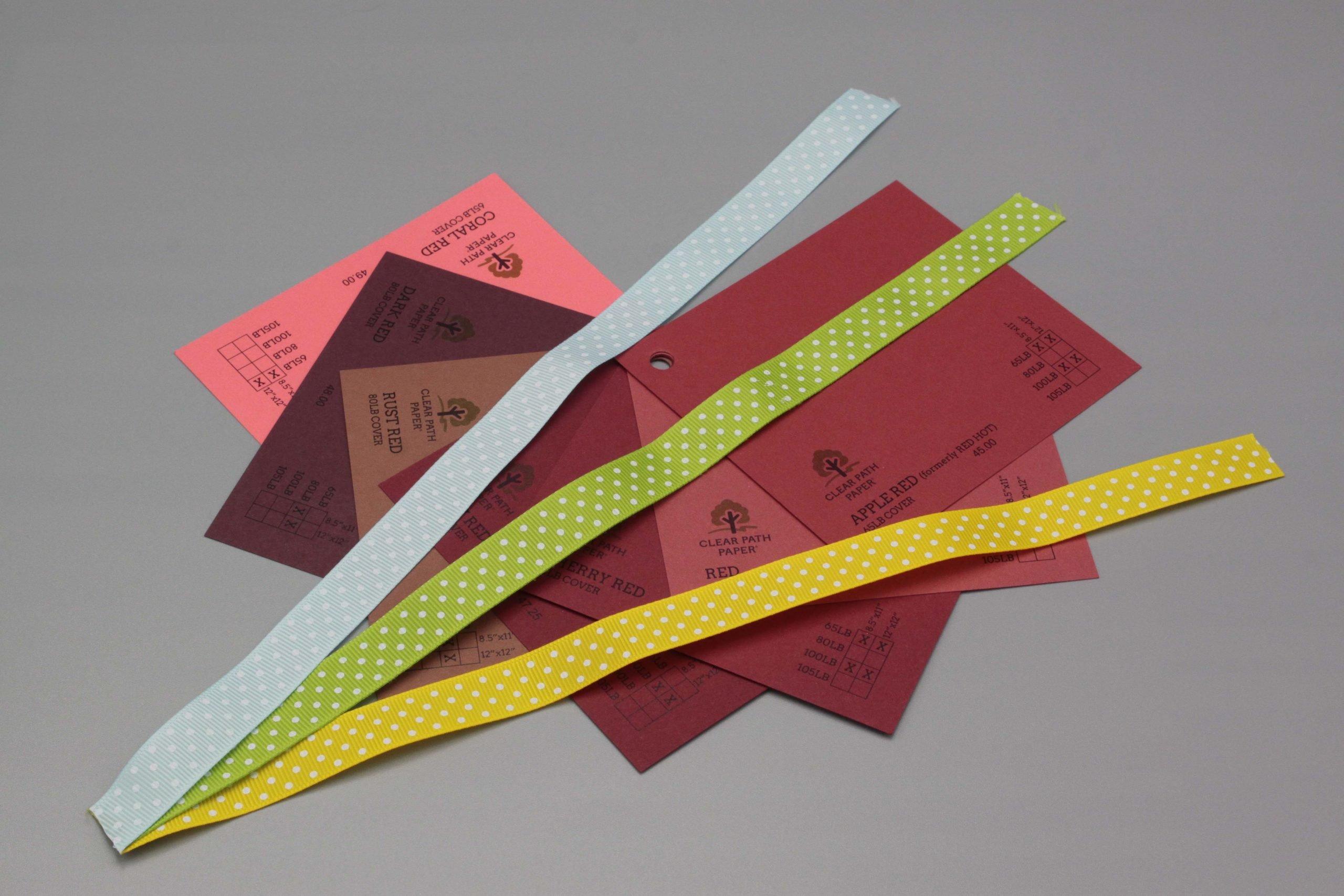 Image of Polka Dot Ribbon on Red Cardstock
