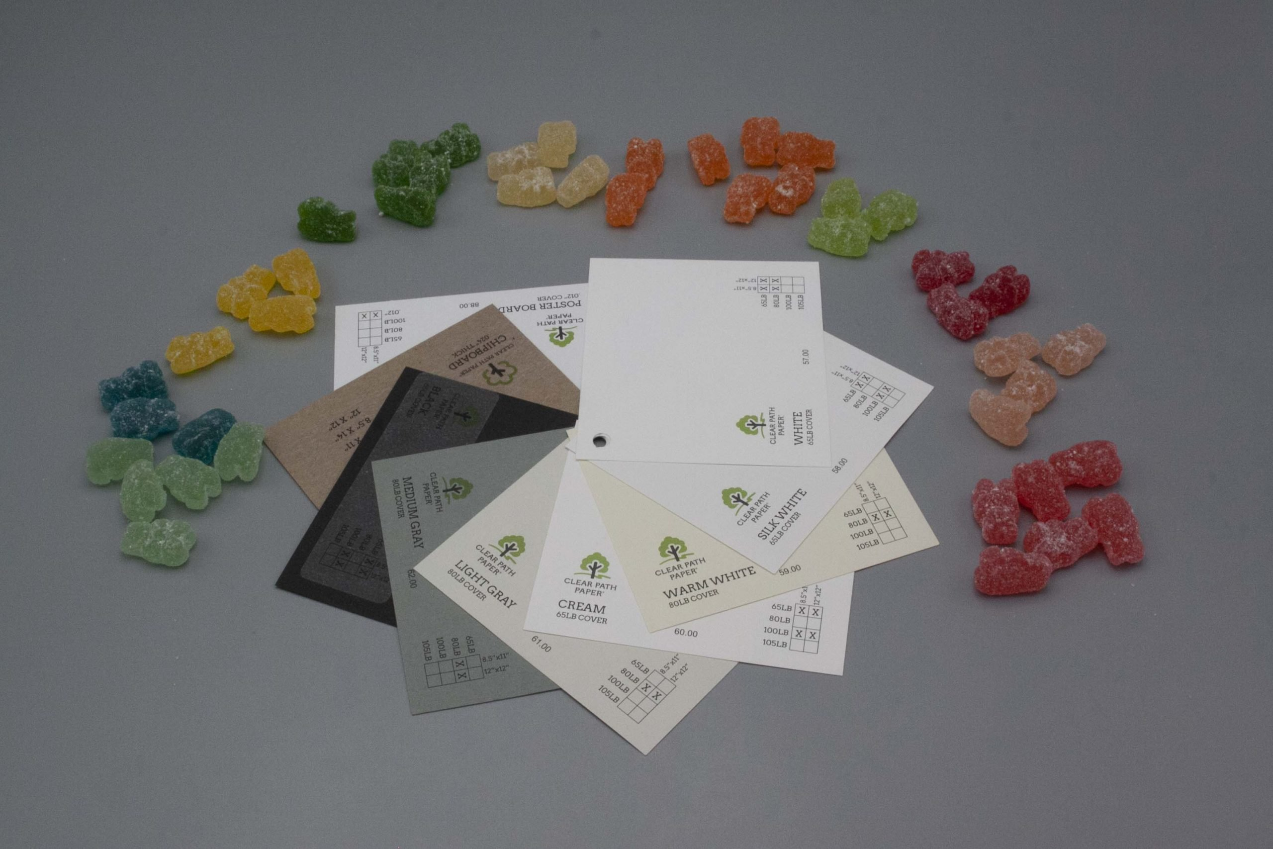 Image of Albanese Gummi Candies with Black, Gray, and White Cardstock