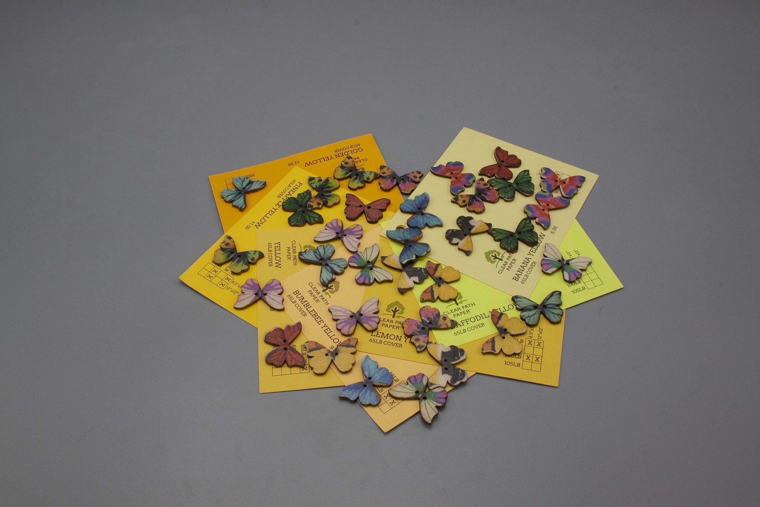 Image of Easy 99 Butterfly Buttons with Yellow Cardstock