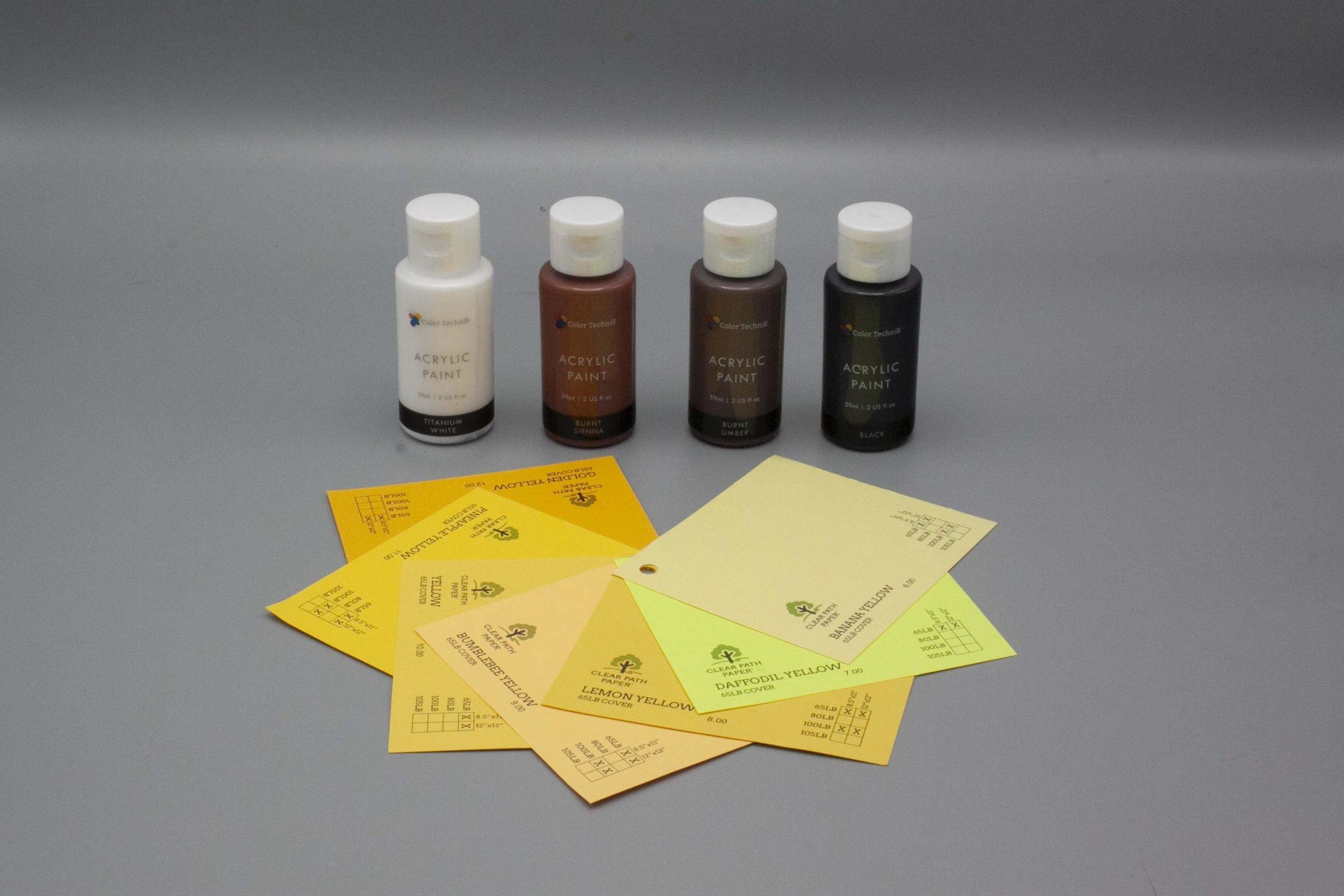 Image of Acrylic Paint on Yellow Cardstock