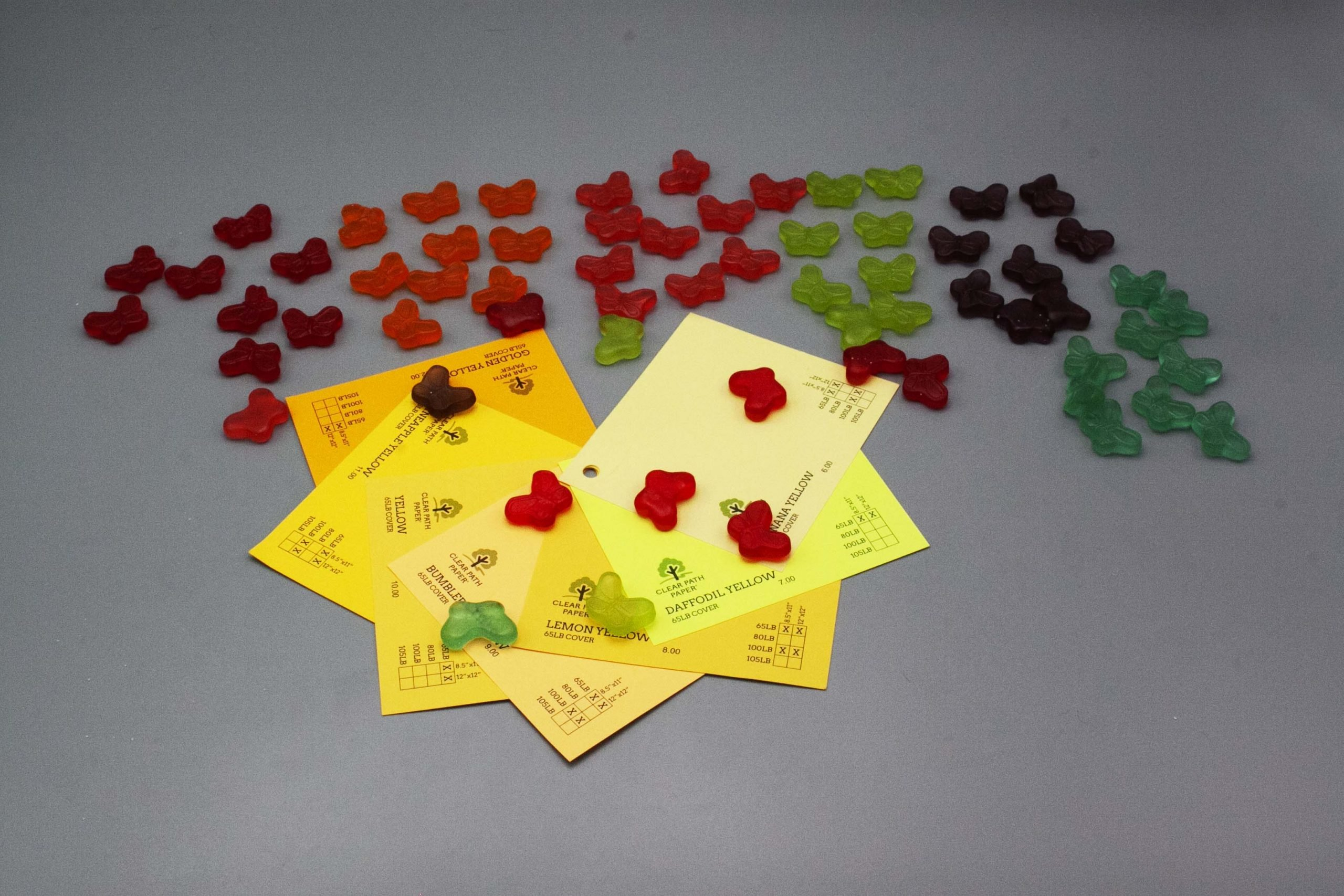 Image of Albanese Gummi Candies with Yellow Cardstock