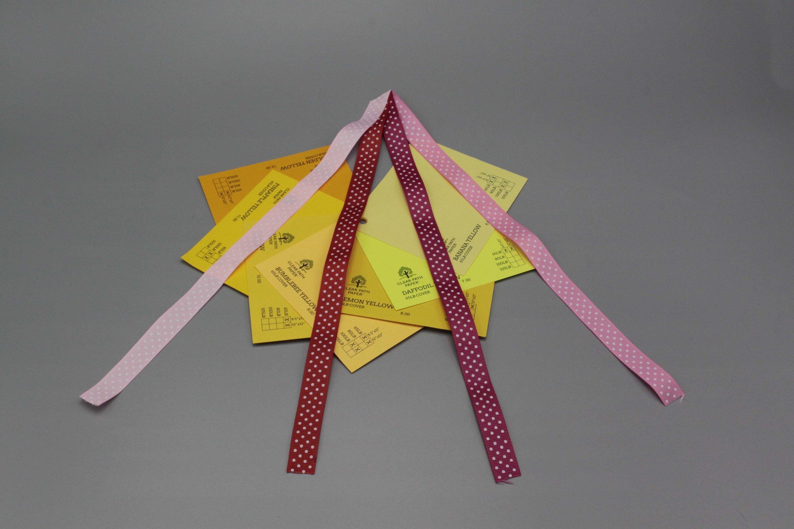 Image of Polka Dot Ribbon on Yellow Cardstock