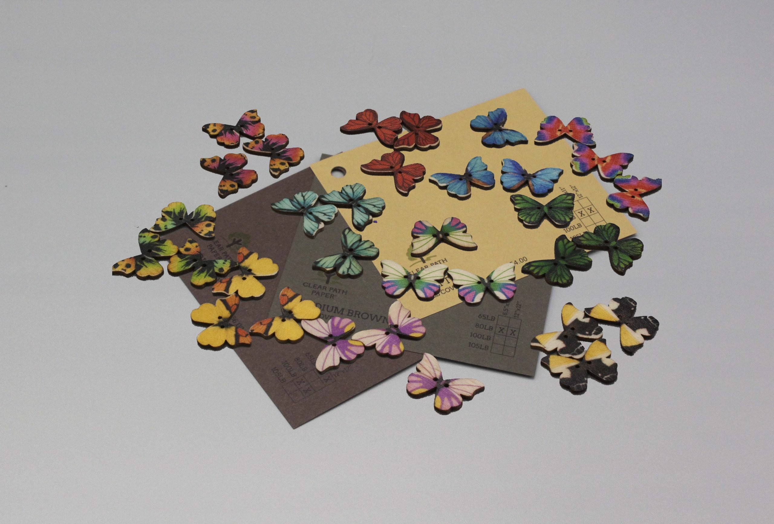 Image of Easy 99 Butterfly Buttons with Brown Cardstock