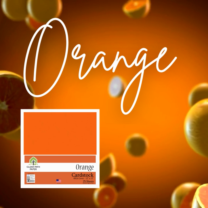 Image of tumbling oranges and a pack of Clear Path Paper Orange cardstock with the word ORANGE