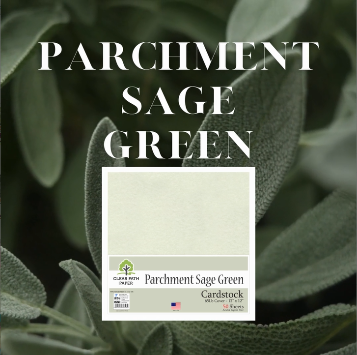 Image of sage and a pack of Parchment Sage Green cardstock